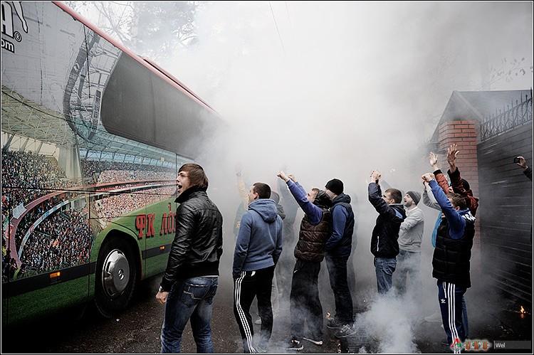 Поддержка команды болельщиками Локомотива на Базе в Баковке