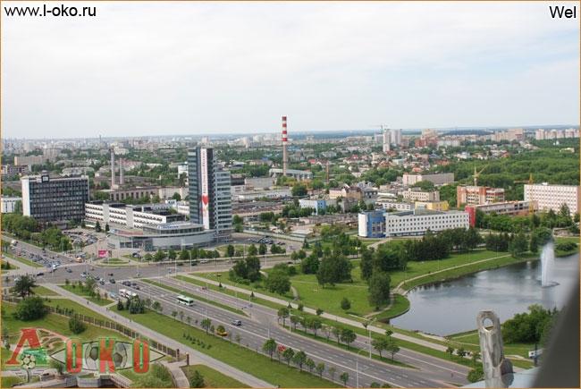 Вид на Минск со смотровой площадки библиотеки.
