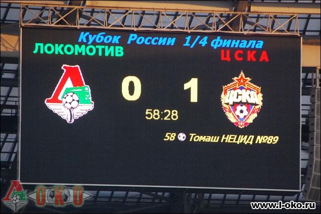 ФК Локомотив Москва - ПФК ЦСКА 0-1. 1/4 финала Кубка России.